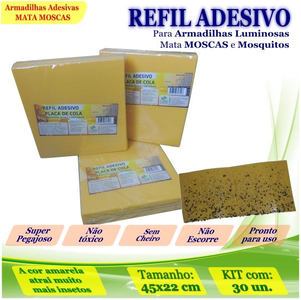 Kit 300 Refil Adesivo AMARELO p/ Matar Mosquitos 45x22cm