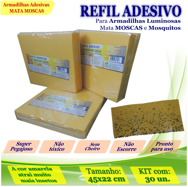 Kit 30 Refil Adesivo 450x220mm AMARELO Armadilha Moscas