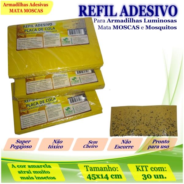 Kit 30 Refil Adesivo 45x14cm AMARELO Mata Moscas Mosquitos