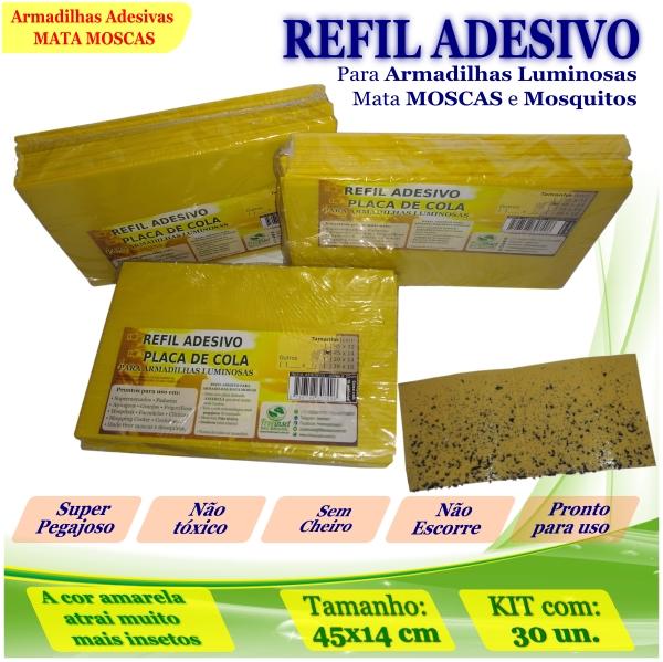 Kit 30 Refil Adesivo 45x14cm AMARELO p/ Armadilha Moscas