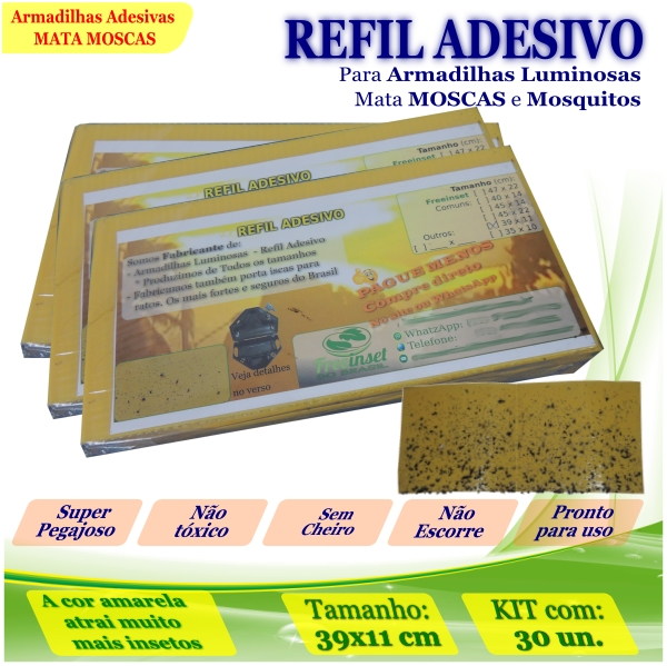 Kit 30 Refil Adesivo AMARELO 39x11cm Mata Moscas Mosquito