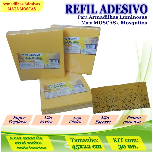 Kit 30 Refil Adesivo AMARELO Mata Mosquito Moscas 450x220