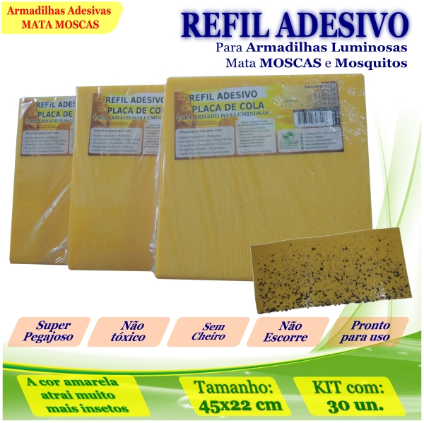 Kit 30 Refil Adesivo AMARELO Mata Mosquito Moscas 45x22cm