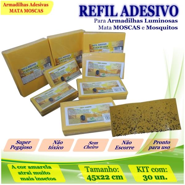 Kit 30 Refil Adesivos 45x22cm AMARELO Mata Moscas Mosquito