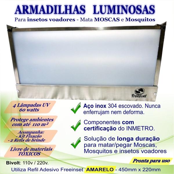 KIT 3 Armadilha Adesiva+20 Refis Bivolt Inox mosca 60w 110m²