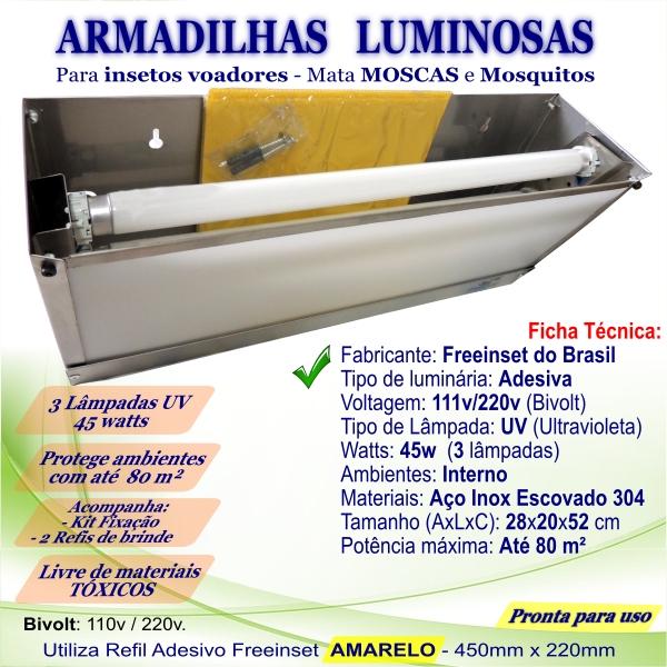 KIT 3 Armadilha Adesiva+20 Refis Bivolt Inox moscas 45w 80m²