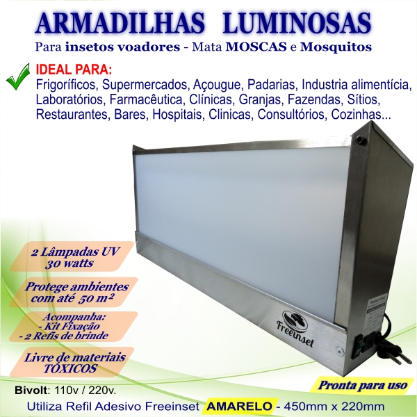 KIT 3 Armadilha Adesiva+20 Refis Bivolt Inox pega mosca 50m²