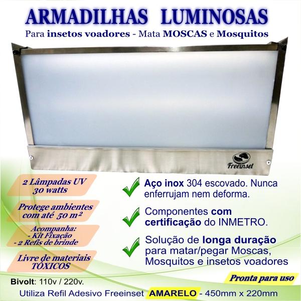 KIT 3 Armadilha Adesiva+30 Refis Bivolt Inox mata mosca 50m²