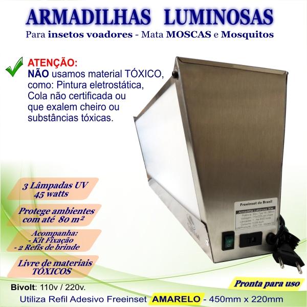 KIT 3 Armadilha Luminosa+50 Refis Bivolt Inox mosca 45w 80m²