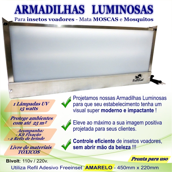 KIT 3 Armadilha Luminosa+50 Refis Bivolt Inox pega mosca 15w