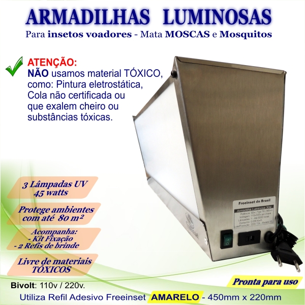 KIT 3 Armadilha Luminosa+50 Refis Bivolt Inox pega mosca 45w