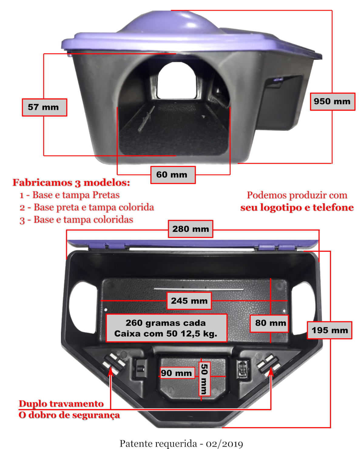 KIT 40 Porta Iscas Resistentes 2 TRAVAS c/ Chave Mata Ratos