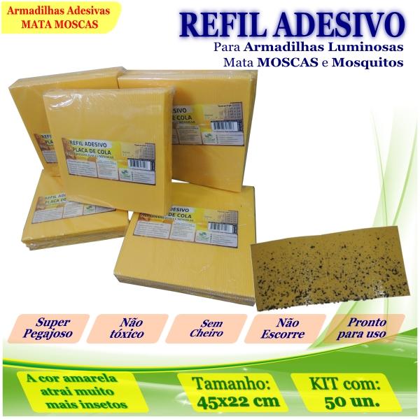 Kit 500 Refil Adesivo 45x22cm AMARELO Mata Mosquito Moscas