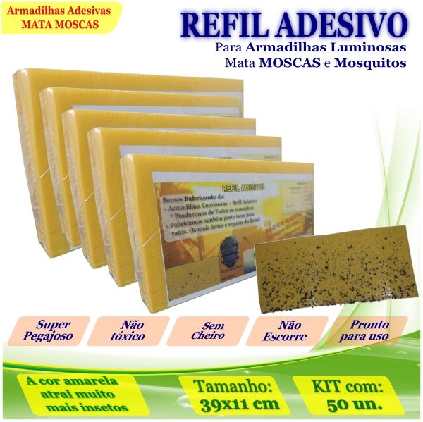 Kit 50 Refil Adesivo 39x11cmAMARELO Mata Moscas Mosquito