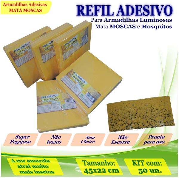 Kit 50 Refil Adesivo 450x220mm AMARELO p/ Moscas Mosquito
