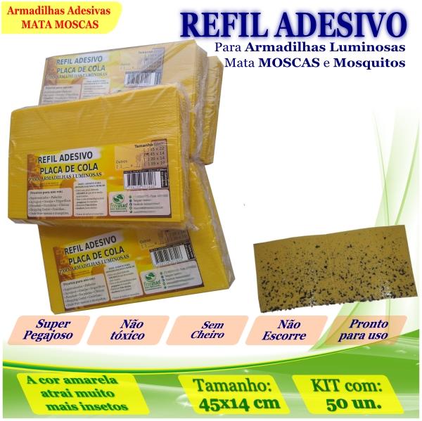 Kit 50 Refil Adesivo 45x14cm AMARELO Mata Moscas Mosquito
