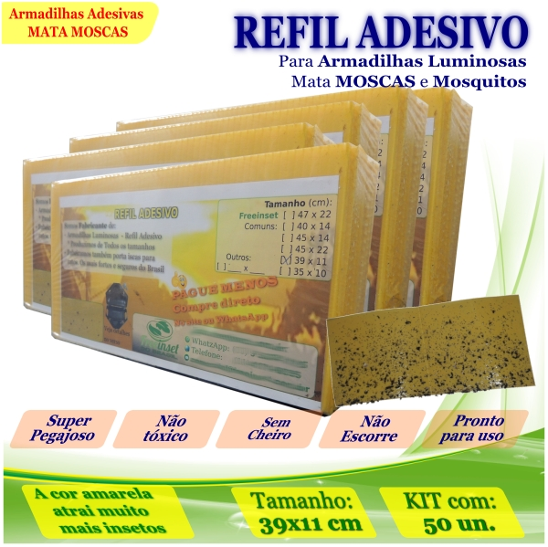 Kit 50 Refil Adesivo AMARELO Mata Moscas Mosquito 39x11cm