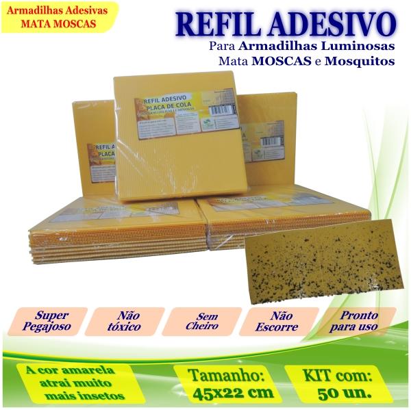 Kit 50 Refil Adesivo AMARELO Mata Mosquito Moscas 45x22cm