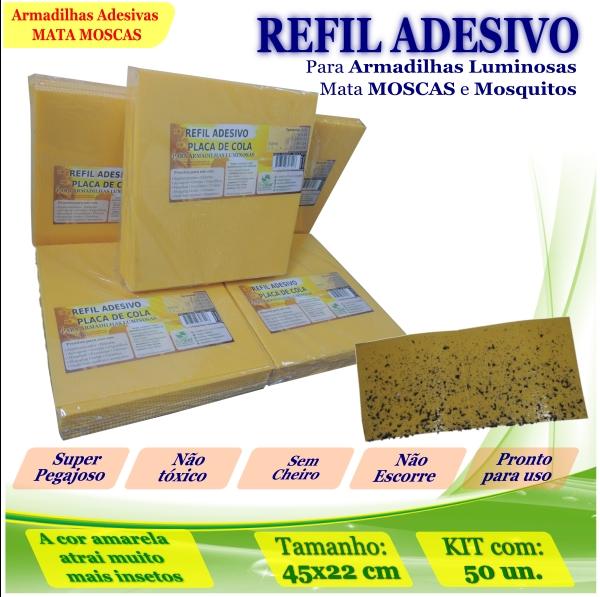 Kit 50 Refil Adesivos 45x22cm AMARELO Mata Moscas Mosquito
