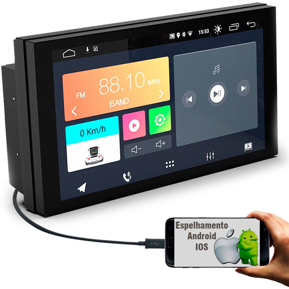 """Central Multimidia Android 7"""" com 2 USB Bluetooth Espelhamento Google Play Faaftech FT-MM-ANDROID"""