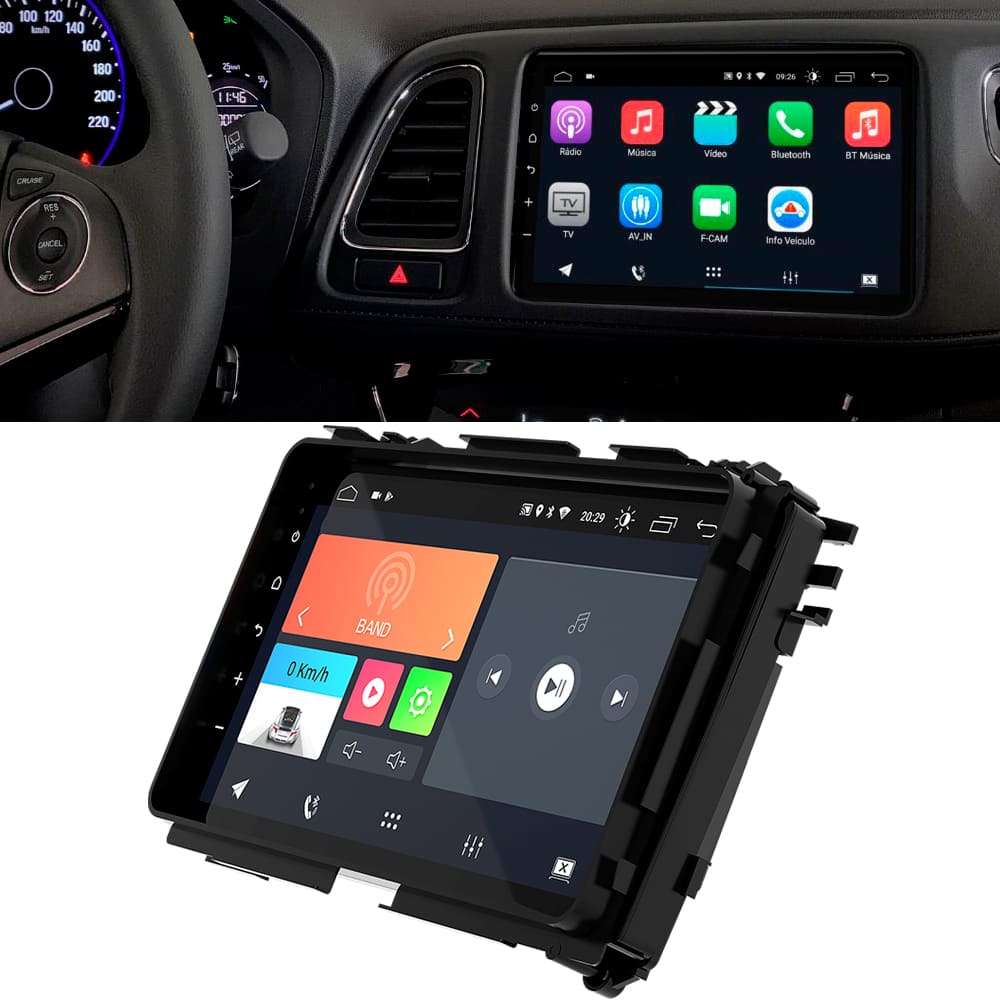 "Central Multimidia HR-V 2019 a 2020 9"" Android 10 USB Bluetooth Espelhamento Google Play Faaftech"