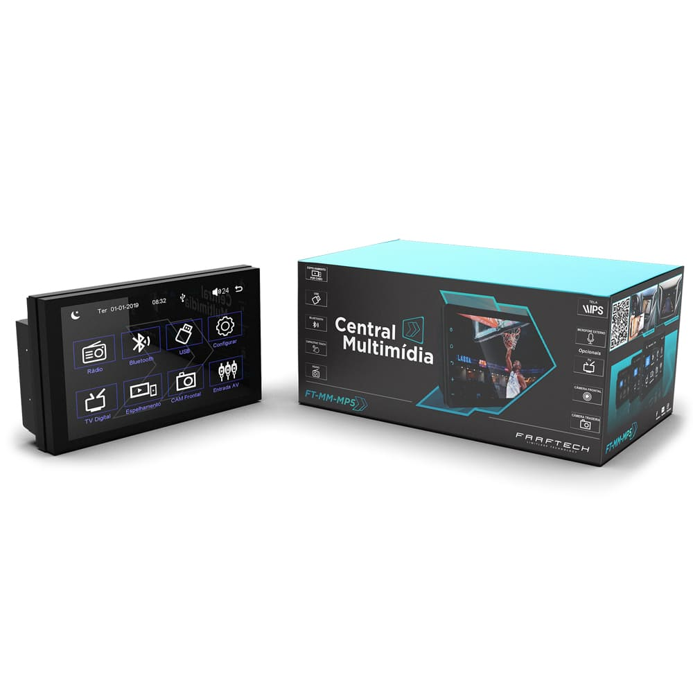 Central Multimidia MP5 com USB Bluetooth Espelhamento Android e IOS Faaftech FT-MM-MP5