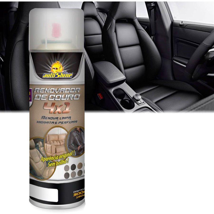 Limpa Renova Hidrata Couro Automotivo Spray Autoshine 300ml