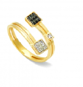 Anel 9 Espinélios com 10 Diamantes 18K