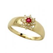 Anel Chuveiro Com Rubi e Diamante 18K