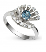 Anel Chuveiro Safira com Diamante Ouro Branco 18k
