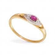 Anel com Rubi e Diamantes em Ouro 18K