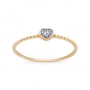 Anel Coração com Diamantes em Ouro 18K