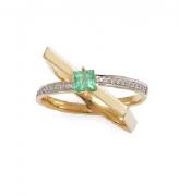 Anel em Ouro 18k com Esmeralda e Diamantes
