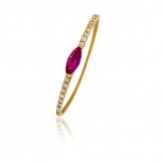 Anel Em Ouro 18k Com Rubi e 16 Diamantes