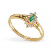 Anel Esmeralda com Diamantes em Ouro 18K
