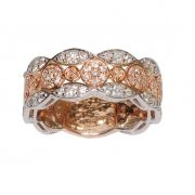 Anel Meia Aliança em Ouro Rosé e Branco 18k com Diamantes