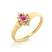 Anel Navete em Ouro 18K Com Rubi e Diamantes