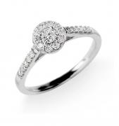 Anel Solitário Com Diamantes 13 Pontos Em Ouro Branco 18K