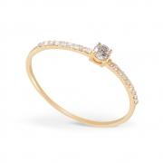 Anel Solitário com Diamantes em Ouro 18k
