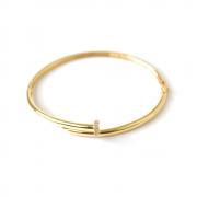 Bracelete Oval Com Pedra Zircônia em Ouro 18K