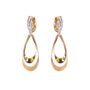 Brinco Argola Gota Ouro Branco com 12 Diamantes 18K