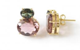 Brinco Com Pedra Turmalina Rosa e Verde Em Ouro 18k