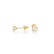 Brinco Infantil Coração em Ouro 18k com Zirconia