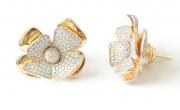Brinco Flor Diamantada Em Ouro 18k