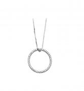 Colar  Círculo Em Ouro Branco 18K, Com 45 Diamantes 40 CM