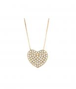 Colar Coração Ouro 18K, Com 58 Diamantes, 40 CM