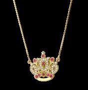 Colar Coroa em Ouro 18k com Rubis e Brilhantes