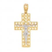 Pingente Cruz em Ouro 18k com Detalhe em Ouro Branco