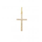 Pingente Cruz Palito com Diamantes Ouro 18k