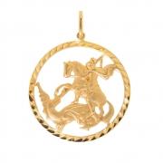 Pingente Oval São Jorge em Ouro 18k
